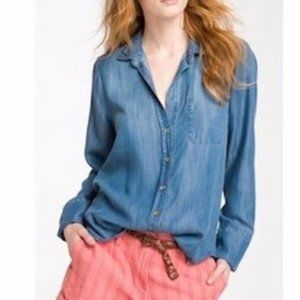 Cloth & Stone Blue Jean Buttoned Long Sleeve Top